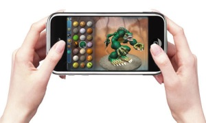 iPhone with video game