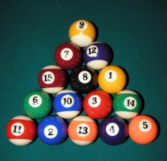 rack of pool balls