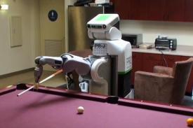 robot playing pool