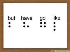 braille for words but, have, go, like